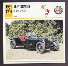 1931-1934 Alfa Romeo 8C 2300 Le Mans Car Photo Spec Sheet Info CARD 1932 1933