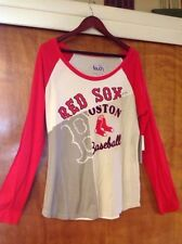 MLB Boston Red Sox Long Sleeve Women's T Shirt Touch Alyssa Milano Size L, NWT
