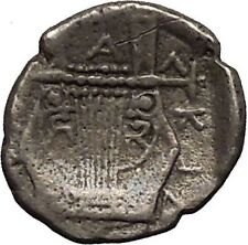 OLYNTHOS MACEDONIA CHALKIDIAN LEAGUE 432BC Apollo Lyre Silver Greek Coin i52219