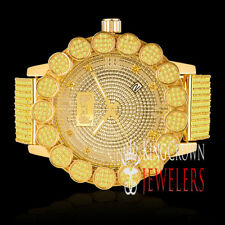 Canary Roman Numeral Real Diamond Gold Tone Pave Flower Bezel Custom Band Watch
