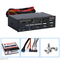 """5.25"""" USB 3.0 PC Media Dashboard Front Panel All in 1 Multi Card Reader SATA US"""
