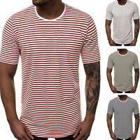 Men Slim Fit Short Sleeve Striped T-Shirt Muscle Tee Summer Casual Tops Blouse
