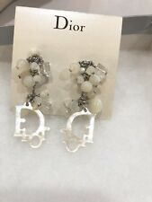 Authentic Christian Dior Earrings Clip On Silver Tone Logo