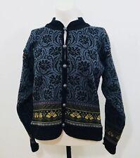 Dale Of Norway Sz M Nordic Icelandic Cardigan Sweater Pewter Button  Wool