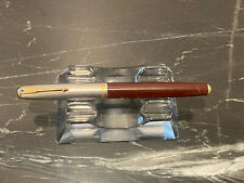 Vintage Parker 51 Fountain Pen Brown  Barrel Silver Gold Double Jeweled Bent Nib