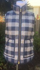 J.CREW S NEW Excursion Vest Buffalo Check Navy Gray Quilted Down Puffer NWT