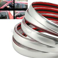 10MM x 7.5M Universal Car SIDE Trim Molding Interior CHROME Silver Strip U Style