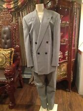 VINTAGE GIANNI VERSACE COUTURE WOOL BLACK WHITE MEN'S  SUIT SZ 52 MADE IN ITALY