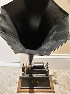 """Antique Working 1898 EDISON """"GEM"""" Wind-Up Early Key Wind Cylinder Phonograph"""