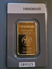 Heraeus Goldbarren ? 999,9 Feingold Gold ? Fine Gold im Blister