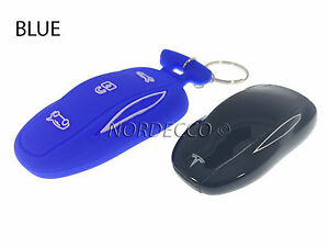 New Silicone Smart Key Fob Protector Case Cover With Keyring Tesla Model S BLUE