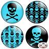 "Blue Skull & Crossbones 1.25"" Pinback Button BADGE SET Novelty Gift Pins 32 mm"