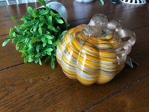 HAND BLOWN ART GLASS MURANO STYLE PUMPKIN ORANGE SWIRL NWT ORANGE, GOLD, BROWN