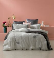 Penna Silver Quilt Doona Duvet Cover set by Bianca   Large charcoal feathers