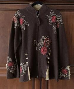Covelo Clothing Wool Embroidered Front Zip Jacket/Blazer~Sz Medium~Brown~EUC!