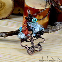 Garnet Aquamarine Crystals Tree Of Life Antiqued Copper Wire Wrapped Pendant