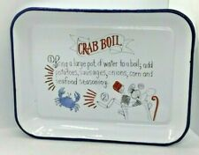 Crab Boil Metal Serving Tray Dish Recipe Nautical Beach Table Anne Tavoletti NEW