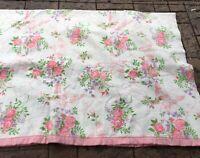 Vintage Pink Trim Polyester Acrylic Floral Pink Roses Blanket 70 X 90 - Full