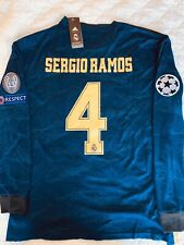 BNWT Adidas UCL Real Madrid Sergio Ramos Long Sleeve Away Soccer Jersey Men's XL