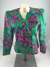 Vtg RETRO 80s LILLI ANN Jewel Tone Floral Glam Satin Union Jacket Blazer S M