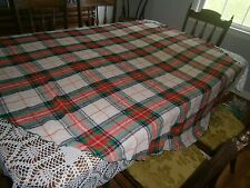 Vintage OVAL Wool CHRISTMAS Tablecloth Red Green White Blue Gold 66 x 66""