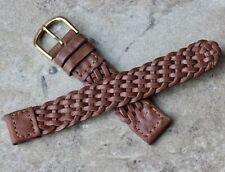 Finely braided Short Length 16mm Genuine Leather vintage watch strap 1960s NOS