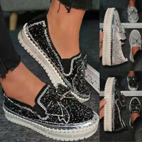Damen Sneaker Loafers Slip On Strasssteine Flache Schuhe Freizeit Halbschuhe