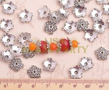 50pcs 10mm Flower Tibetan Silver Bead Caps Charms Spacer Beads Jewelry Findings