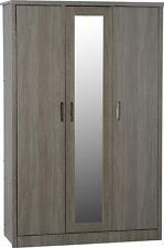 Grey Wood Grain 3 Door 2 Drawer Mirrored Wardrobe W120 X D53.5 X H187cm LACEY