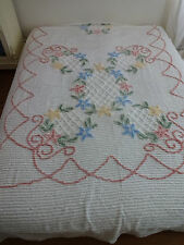 "Chenille Pink Blue Green VTG USA Queen Size Bedspread 90 X 104"" GREAT CONDITION"