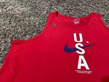 Nike Dri Fit Red White Blue swoosh Usa Olympics World Cup tank top L 1972 Tokyo