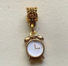 Gold White Alarm Clock Watch Time Dangle Bead fit European Charm Bracelets