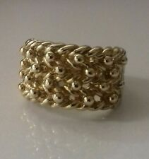 "VINTAGE 9ct Yellow Gold Keeper Knot Ring Wide 4-Row UK size ""P"" Hallmarked 8.5g"
