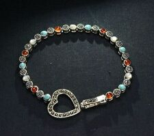 Noble Jewel 925 Sterling Silver Agate Shell Turquoise and Marcasite Bracelet