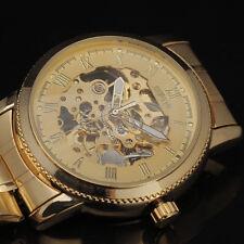 marca de lujo nuevo reloj de pulsera de oro esqueleto mecánico de los hombres