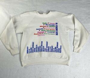 Vintage 80s Skate America 1989 Sweatshirt White International Made in USA Size L