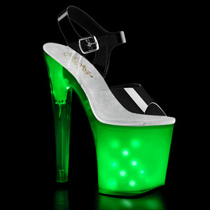 "Pleaser 8"" rainbow light up LED stripper shoes"