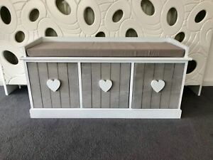 Grey White Vintage 3 Seater Hallway Bedroom Storage Bench Cushion 3 Drawers Wood