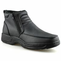 Mens Wide Fit Smart Formal Work Zip Up Walking Winter Fur Ankle Boots Shoes Size