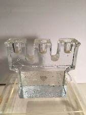 Vtg DANSK CLEAR GLASS ICE CUBE Tapered CANDLE HOLDER
