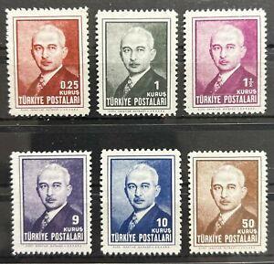 Turkey 1946 The Third Inönü Issue COMPLETE SET SG #1347/1352