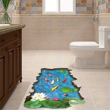 3D Stereo Non-Toxic Wall Sticker Pool Fish Simulation Bedroom Floor Tile Sticker