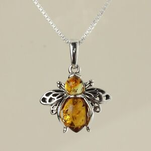 HONEY BALTIC AMBER BEE PENDANT STERLING SILVER WITH CHAIN NEW BOXED