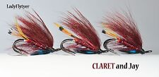 3 x CLARET and Jay seatrout/Salmon fly size 12 doubles Lady FLYTYER