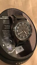 Citizen Eco-Drive Mens adjustable leather band Chrono Watch 100m gray dial
