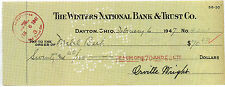 ORVILLE WRIGHT Signed Cheque / Check - American Aviation Pioneer - preprint
