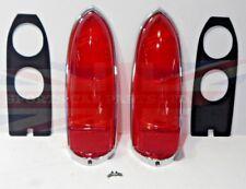 New Pair Lucas Tail Lamp Lens Set + Chrome Rims Gaskets Screws MG Midget 1963-69