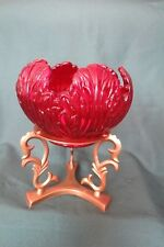 FENTON Ruby Glass Rose Bowl Candle Holder Brass Stand Original Sticker and Price