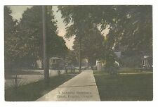 PC Tinted, Tree-lined residential street w/streetcar, Eugene, Lane Co., OR, 1909