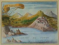 Castles of Greece Parga Venetian Castle Corfu Canal Engraving Poster 34 x 49 cm